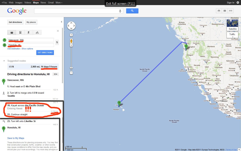 Google directions to Hawaii - Oregon Hikers