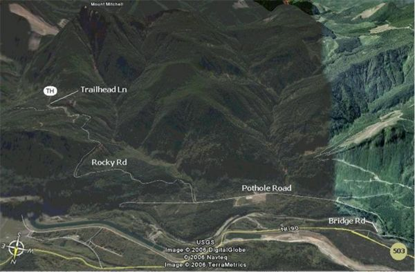 Google Earth rendering of forest roads up to the Mount Mitchell trailhead.  The road names are not real, and are only meant to help you match up with the directions above