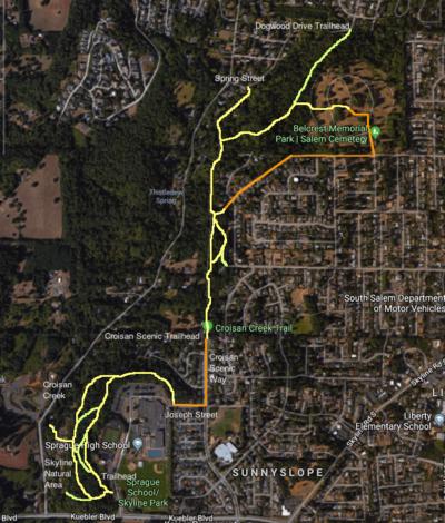 Salem Oregon Map Google.Croisan Creek Hike Hiking In Portland Oregon And Washington